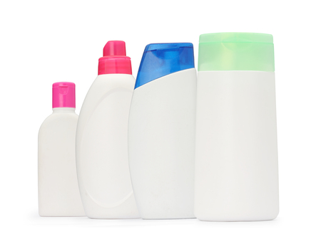 group shot: the group shot packaging bottle shampoo and soap liquid isolated Stock Photo