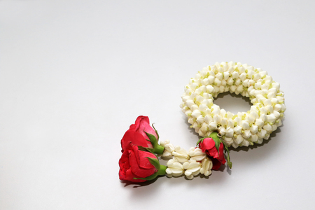 Jasmine garland Thai traditional handcraft decoration for celebrities of special day.