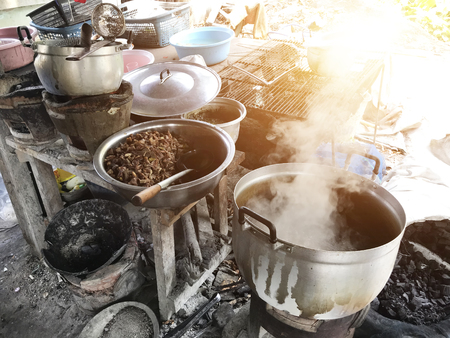 Dirty kitchen in rural restaurant street food shop. Unhealthy not provided hygienic food.