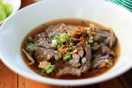Stewed beef noodle soup with vegetable Thai local street food. Stok Fotoğraf