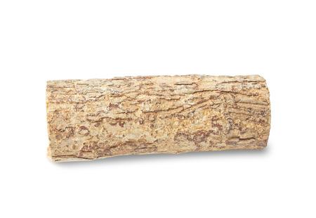 face in tree bark: Thanaka wood on white background Stock Photo