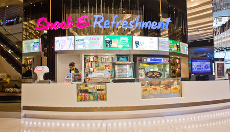 sf: BANGKOK, THAILAND - FEBRUARY 9 : View of Snack  Refreshment Shop of SF Cinema on February 9, 2015 in Bangkok, Thailand. SF Cinema It is the second-largest cinema chain in Thailand.