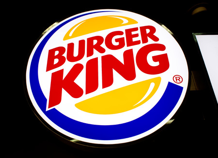 BANGKOK, THAILAND - FEBRUARY 10 : Logo of Burger King Restaurant on February 10, 2015 in Bangkok, Thailand. Burger King is a global chain of hamburger fast food restaurants. And was founded in1953 Editorial