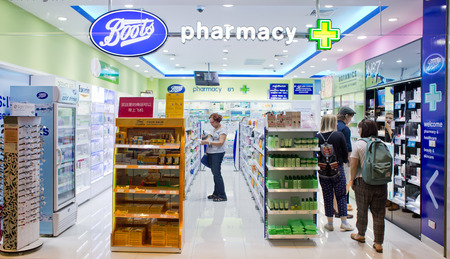 BANGKOK, THAILAND - FEBRUARY 10: Exterior view of Boots pharmacy store on February 10, 2015 in Bangkok, Thailand. The Boots pharmacy chain has over 3,300 stores in 21 countries. Editorial