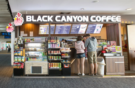 march 17: BANGKOK, THAILAND - MARCH 17 : Exterior view of Black Canyon Coffee Shop on March 17, 2015 in Bangkok, Thailand. Its Thai coffee shop and was established in 1993. Editorial