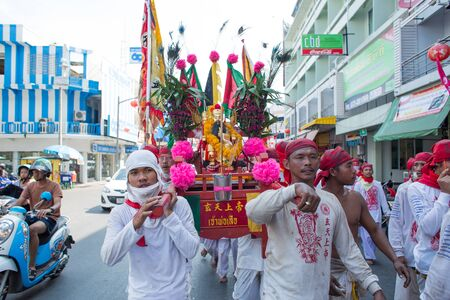 repentance: SURAT THANI, THAILAND - APRIL 3 , 2015 : Surat Thani Vegetarian Festival on April 3, 2015 in Surat Thani, Thailand. During the festival ritual mortification is practised to appease the Gods.