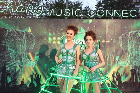 thani: SURAT THANI, THAILAND - FEBRUARY 21 : Unidentified models at Chang Music Connection Concert on February 21, 2015 in Surat Thani, Thailand. Chang is Thailands largest beverage company. Editorial
