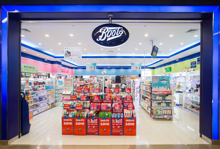 SURATTHANI, THAILAND - JUNE 11: Exterior view of Boots pharmacy store on June 11, 2014 in Suratthani, Thailand. The Boots pharmacy chain has over 3,300 stores in 21 countries. Editorial