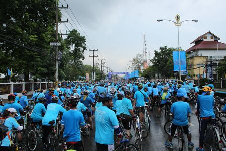 queens birthday: SURAT THANI, THAILAND - AUGUST 16 : Unidentified riders in action during Bike for Mom event on August 16, 2015 in Surat Thani, Thailand. Bike for Mom is the event for celebrates queens birthday.