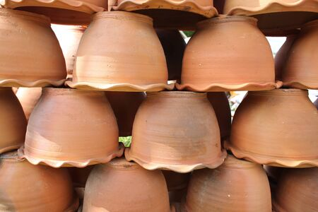 flowerpots: flowerpots made from baked clay Stock Photo