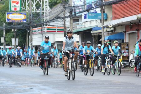 queen's birthday: SURAT THANI, THAILAND - AUGUST 16 : Unidentified riders in action during Bike for Mom event on August 16, 2015 in Surat Thani, Thailand. Bike for Mom is the event for celebrates queens birthday.