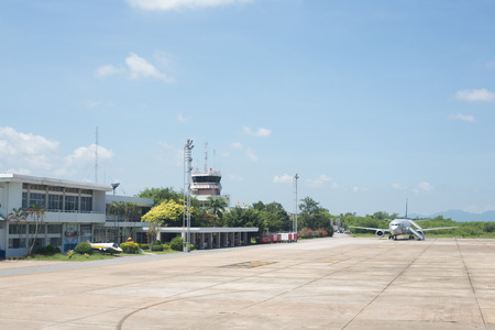 surat: BANGKOK, THAILAND - SEPTEMBER 7 : Exterior view of Surat Thani International Airport on September 7, 2015 in Surat Thani, Thailand. It is the largest airport in Surat Thani, Thailand.