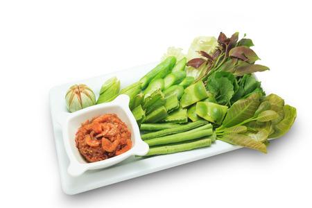 phuket food: Dip with Dried Shrimp Phuket Style (Thai food) isolated on white background Stock Photo