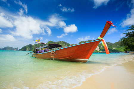 Long tail boats in Phi Phi Island, Krabi, Thailand.