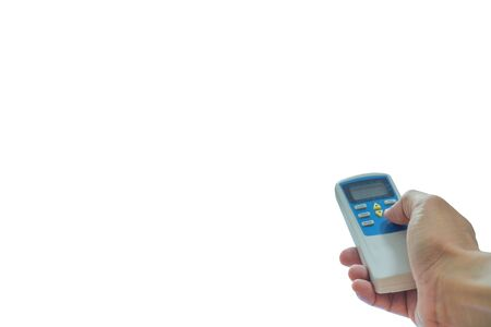 Hand hold remote control of air conditioner isolated on white background. Banque d'images