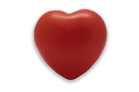red heart beautiful, plastic soft rubber object isolated on white background.