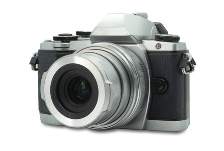 Mirrorless digital photo camera. Retro old style isolated on a white background