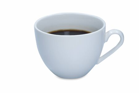 White cup of hot black coffee isolated on white background.