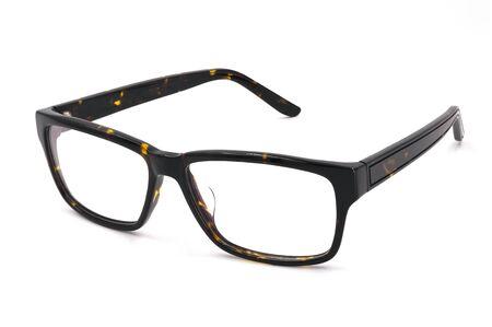Mens eyeglasses, Brown and Black of frame plastic tortoise shell isolated on white background. Fashion hipster glasses.