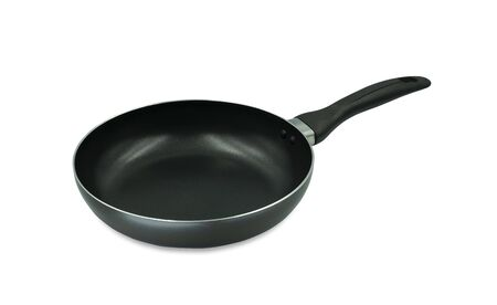 Black frying pan isolated on white background with clipping path.