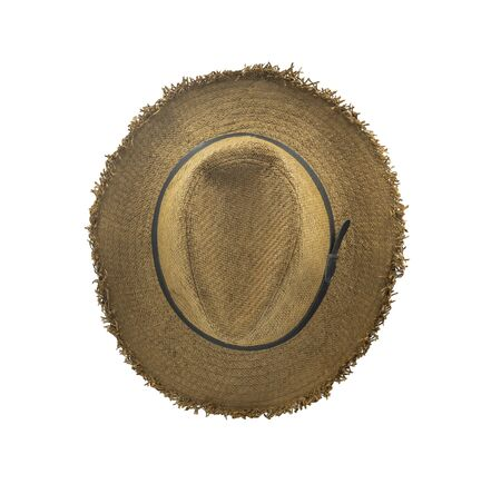 Top view of Brown straw beach sun hat fashion summer for men isolated on white background. Vintage-style classic brown color. Beautiful and helps protect the sun.