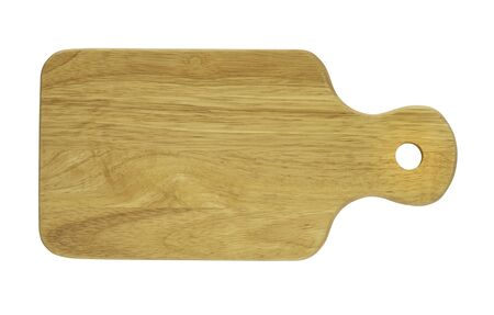 Top view of Wood cutting board with handles and hole for hanging.  Handmade wooden chopping boards made from hardwood for cooking on white background