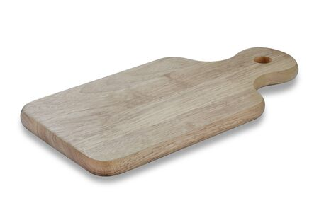 Top view of Wood cutting board with handles and hole for hanging.  Handmade wooden chopping boards made from hardwood for cooking on white background with clipping path.