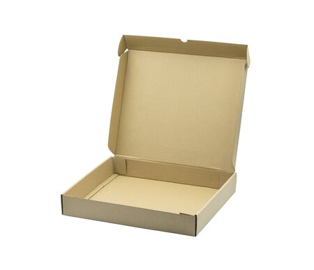 Close-up of open blank brown cardboard box on white