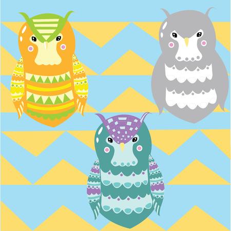 3 owls Vector