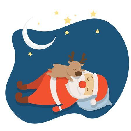 Santa's Sleeping at Christmas Night Cartoon Stock Illustratie