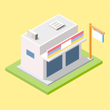 Modern Store Minimarket in Isometric Design Иллюстрация