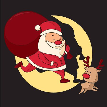 Santa Claus and Reindeer Make Sure Christmas Gifts Arrive on Time Stock Illustratie
