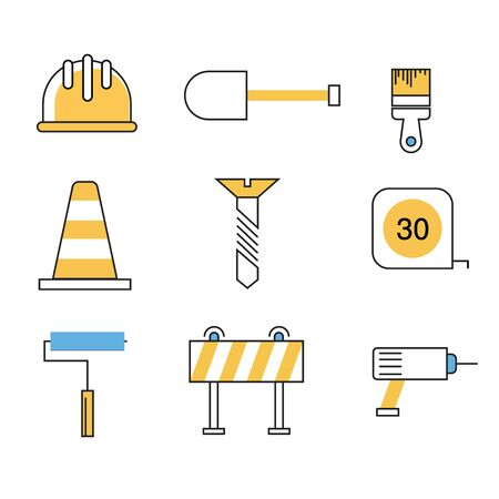 Contruction Tools Icon Flat Line Style Çizim