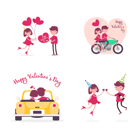 Valentine's Day Character Expression Sets Flat Design.