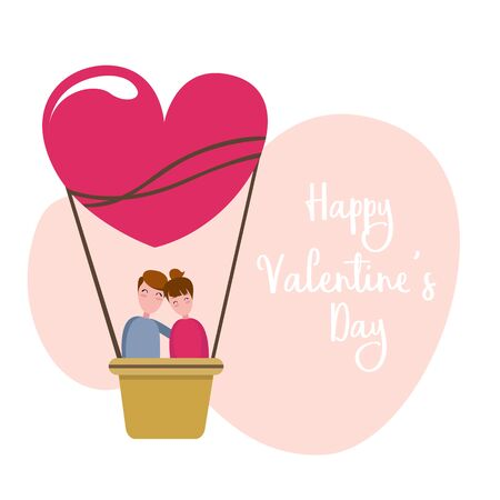 Valentines Couple on Hot Air Balloon.
