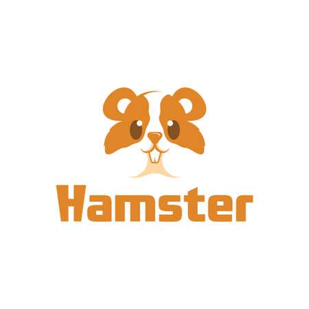 Cute cartoon hamster logo, funny animal.