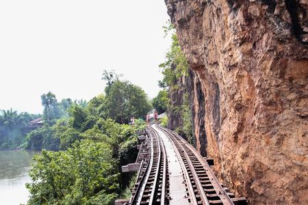 railwat track of Thai Railway and river Kwai at Kanchanaburi, Thailand