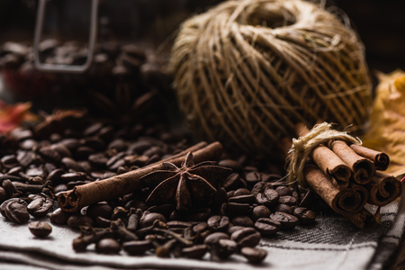 granule: Coffee Beans with Cinnamon, Anise Star and Clove Stock Photo