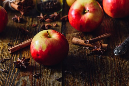 Red Apples with Christmas Spices for Cooking Apple Grog.