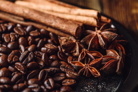 Coffee Beans with Cinnamon Sticks and Chinese Star Anise on Metal Plate. Фото со стока