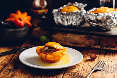pattypan squash stuffed with minced beef and vegetables