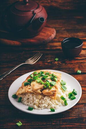 Japanese dish. Rice with scrambled eggs, chicken and green onion Stok Fotoğraf