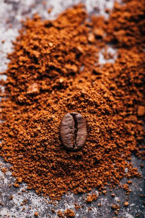 Fresh roasted coffee bean lays on heap of grinded coffee