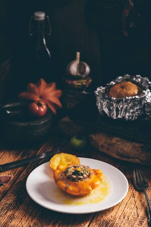Baked pattypan squash filled with beef and vegetables