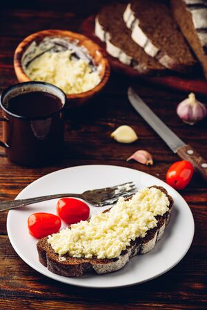 Rye bread toast with processed cheese and garlic on white plate Reklamní fotografie
