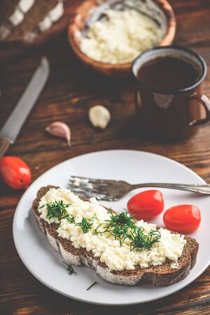 Rye bread toast with processed cheese, garlic and dill Reklamní fotografie