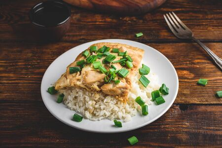 White rice with scrambled eggs with chicken and green onion on plate