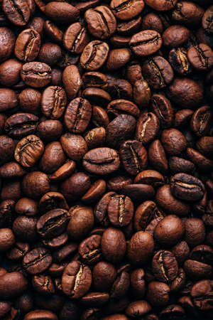 Background of fresh roasted coffee beans Stock Photo
