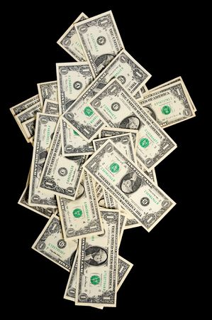 Isolated dollars falling down on the black background