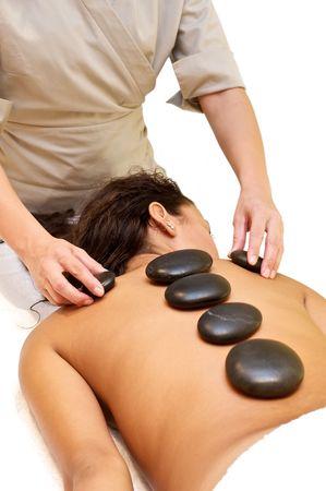 purify: Hot stone massage Stock Photo